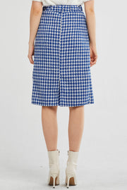 Alexa Houndstooth Pleated Midi Skirt