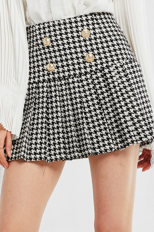 Ivy Pleated Hem Houndstooth Skirt