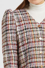 Scarlett Multi Tweed Puff Sleeve Jacket