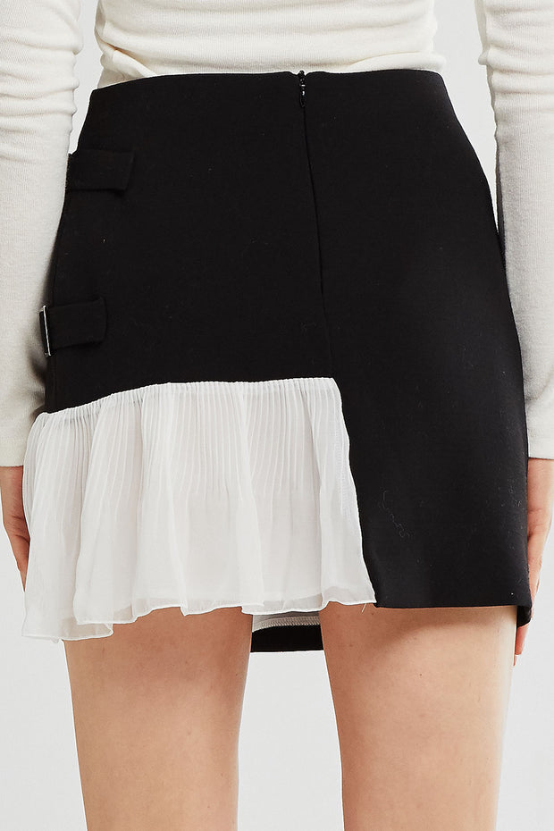 Athena Asymmetric Spliced Pleated Skirt