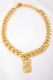 Bold Link Chain Necklace w/Pendant