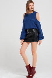 Charlotte Embossed Leather Skirt