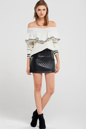 Irene Ruffle Off Shoulder Pullover