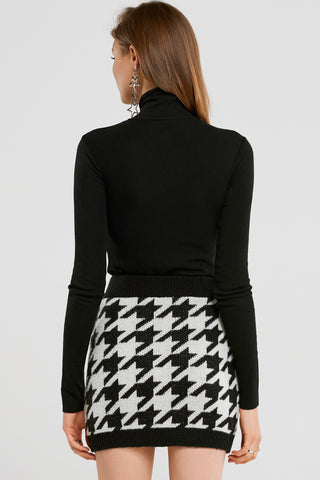 Vivian Houndstooth Mini Skirt