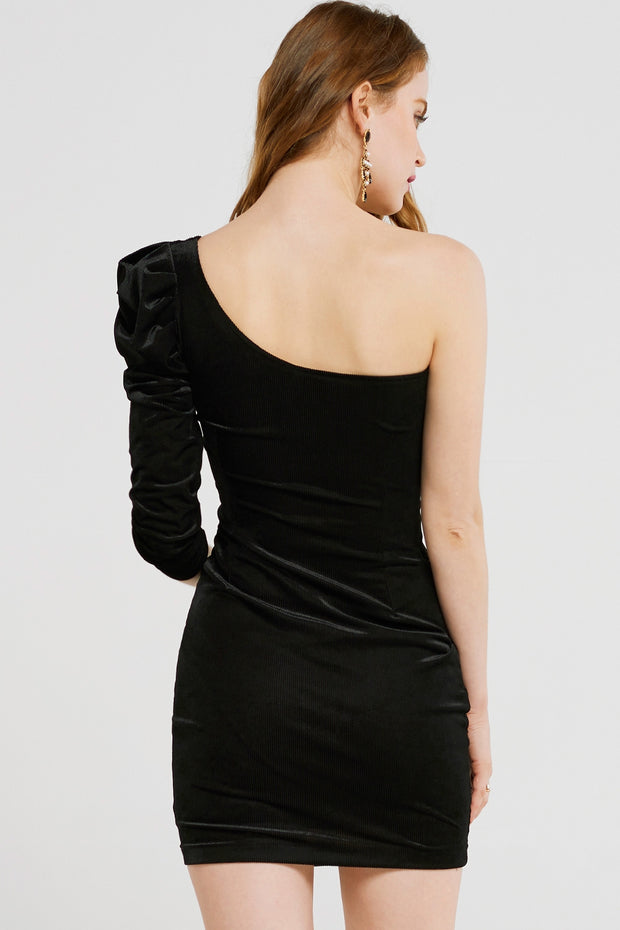 Lora One-shoulder Velvet Mini Dress