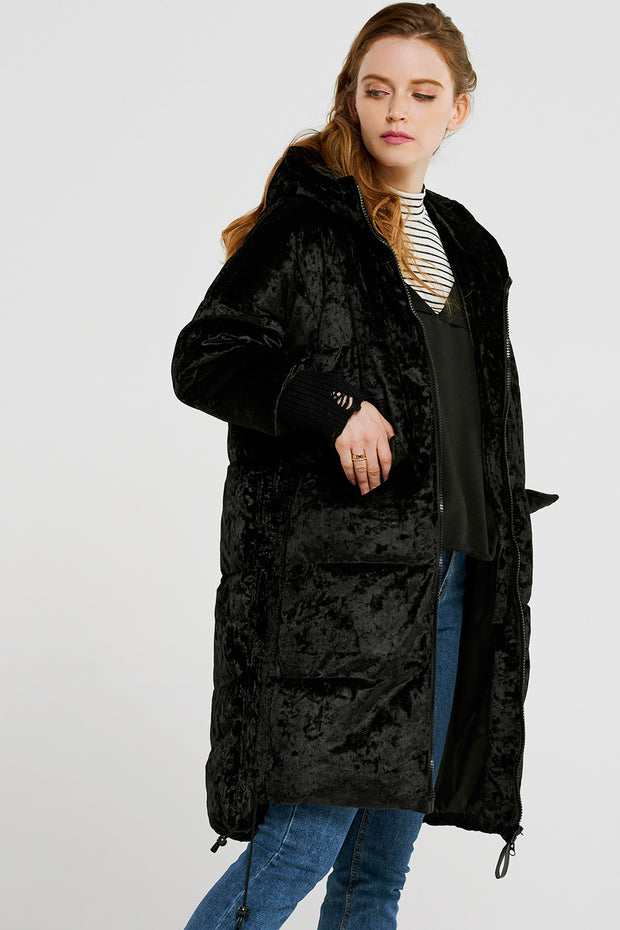 storets.com Ciara Ring Pocket Velvet Padded Coat