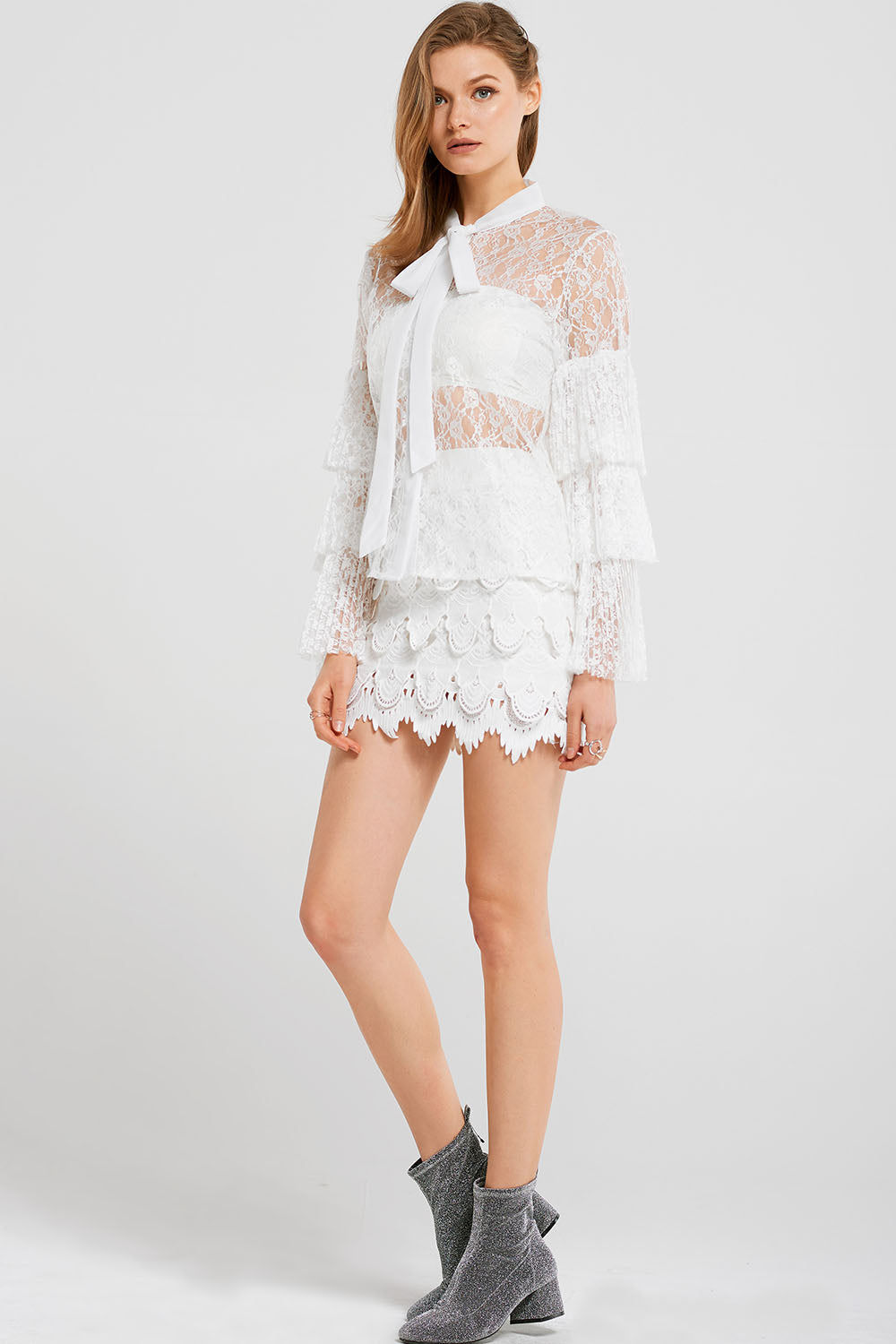Liah Lace Tiered Mini Skirt