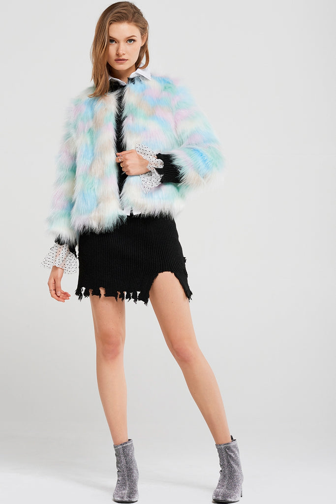 Lydia Rainbow Faux Fur Coat