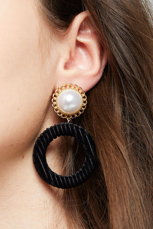Vivian Pearl & Velvet Earrings