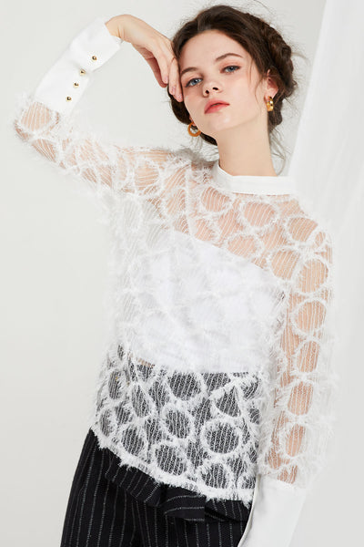 Albina Sheer Textured Blouse