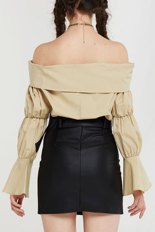 Selah Double Buttoned Leather Skirt