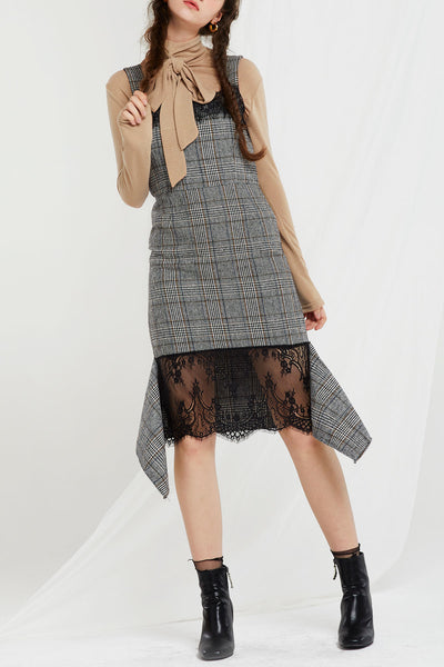 Sherilyn Laced Plaid Dress