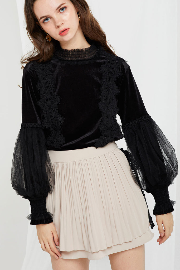 Sadie Velvet Lace Top