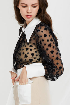 Elena Heart Patterned Blouse