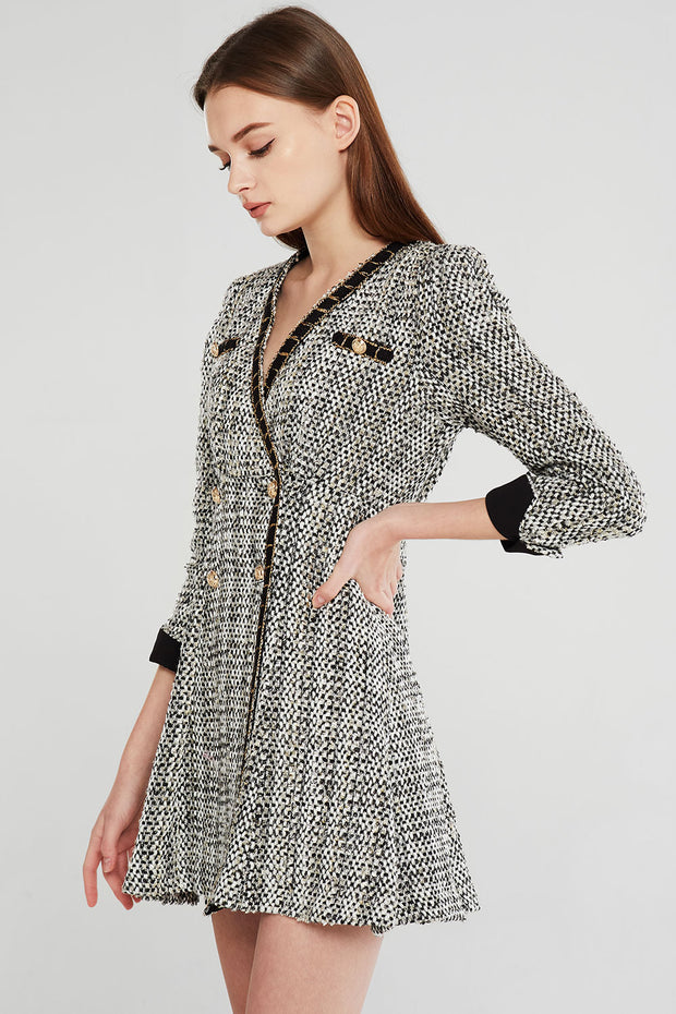 Jenna Contrast Trim Tweed Dress