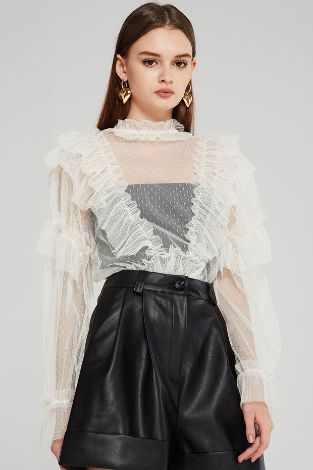 Whitney Pleated Ruffle See-thru Blouse
