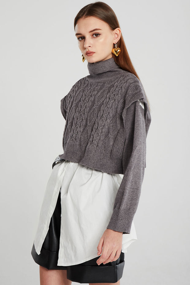 Maya Shirt Layered Splice Knit Jumper
