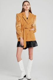 Skylar Fur Sleeve Jacket w/Belt