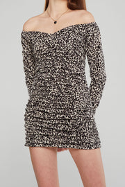 Jessica Ruched Leopard Dress
