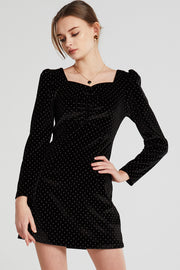 Jordan Gold Dotted Velvet Dress