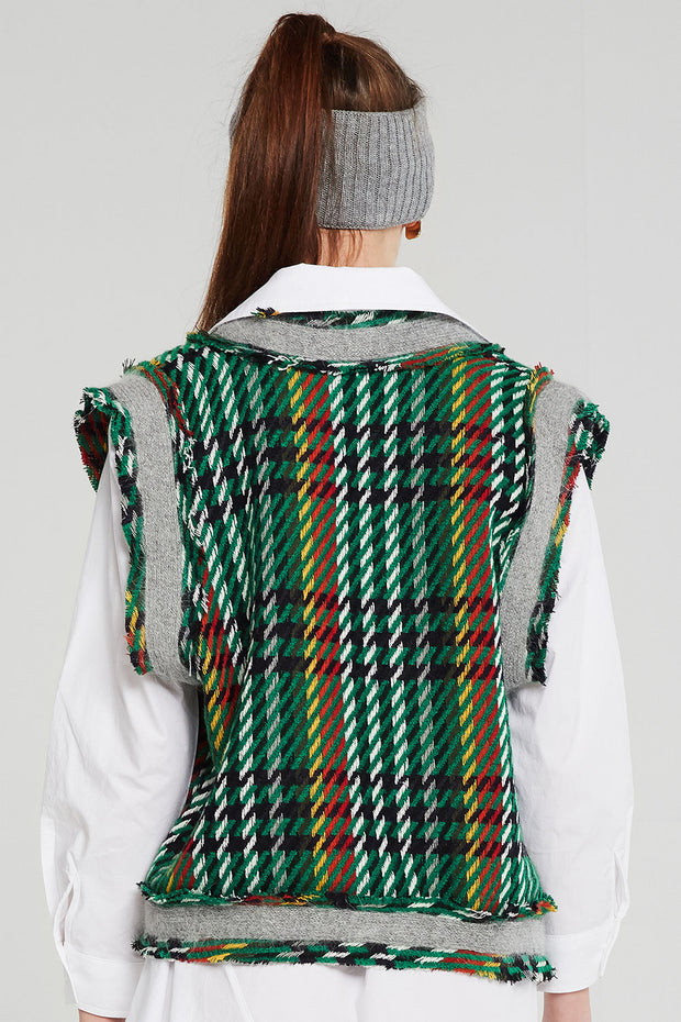 Adele Plaid Knit Cropped Vest
