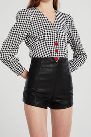 Marina Cutout Waist Pleather Shorts