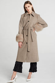 Dorothy Fur Cuff Long Coat w/Belt