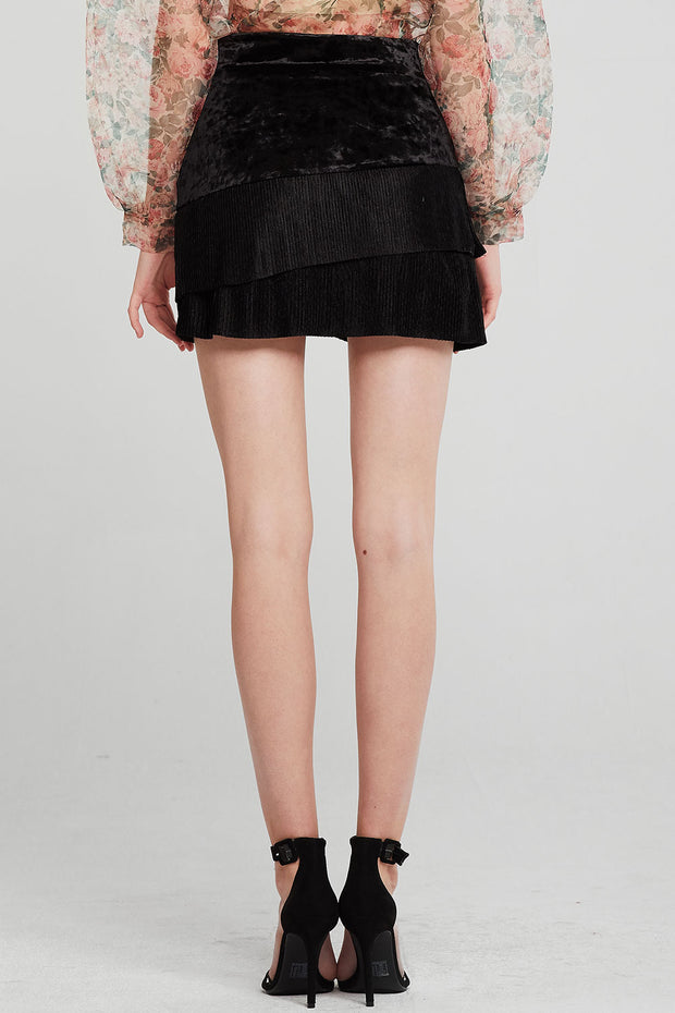 Amy Pleated Tiered Velvet Skort