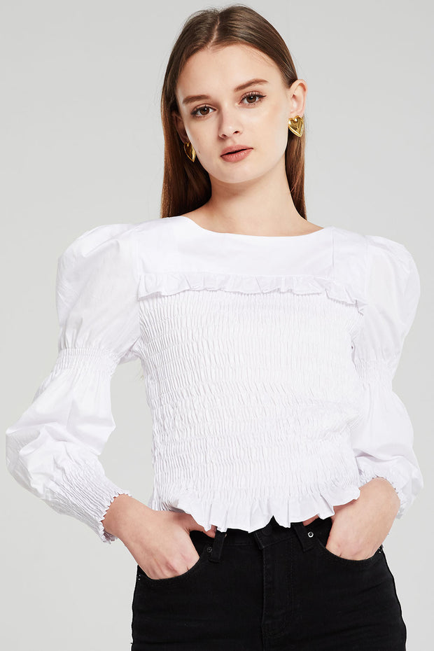 Willow Juliet Sleeve Smocked Blouse