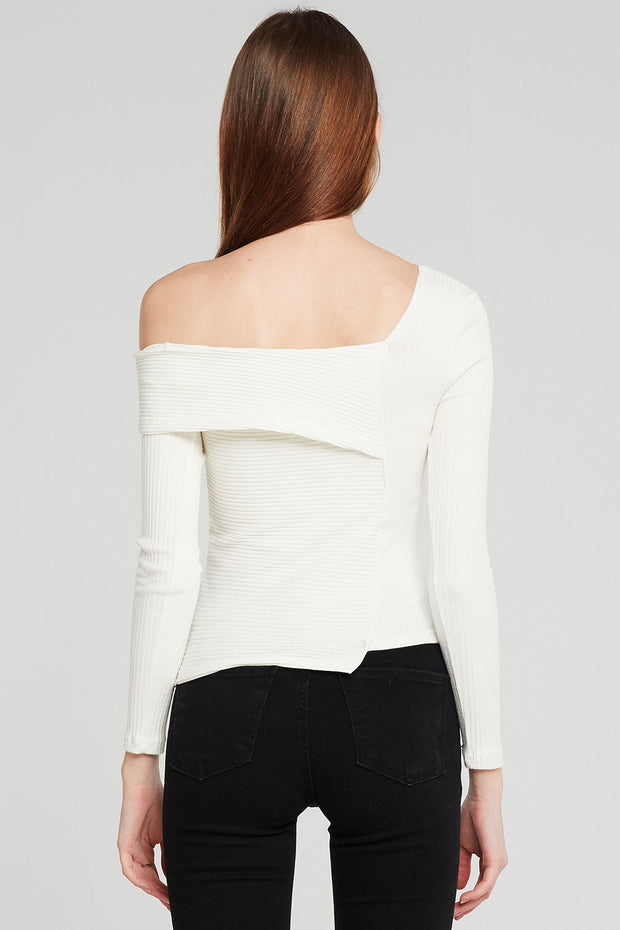 Emory Asymmetric Neck Ribbed Top