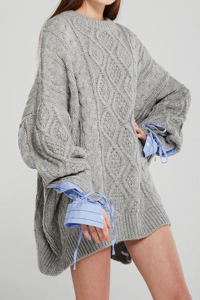 Sadie Shirt Combo Knit Pullover