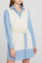 Abigail Spliced Knit Shirt Dress