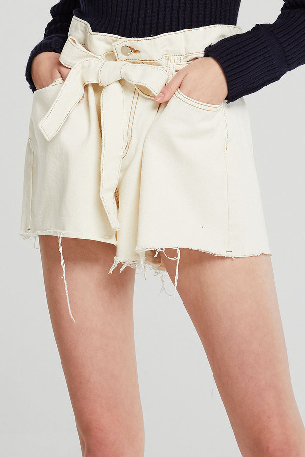 Nancy Raw Edge Belted Shorts