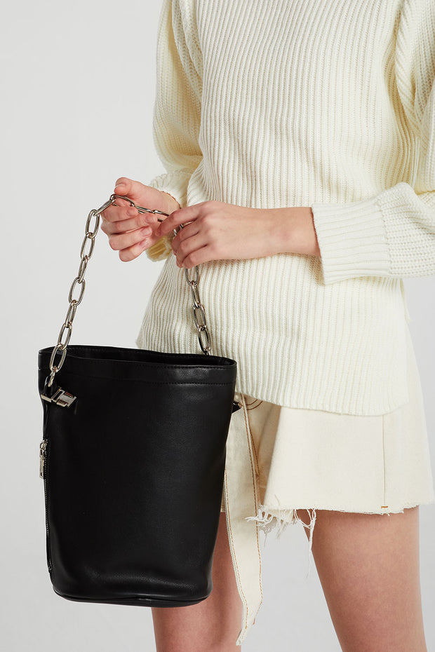 Chain Handle Bucket Bag