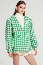 Jamie Oversized Collarless Houndstooth Blazer