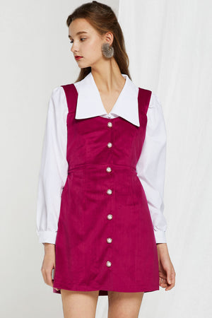 Alecia Velvet Pearl Button Dress (Pre-Order)
