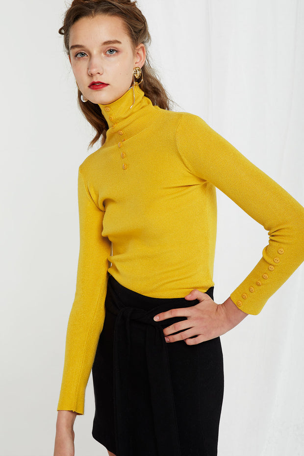 Rita Buttoned Turtleneck-2 Colors