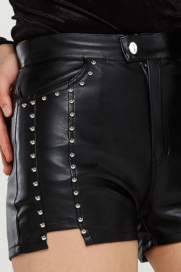Studded Faux Leather Shorts