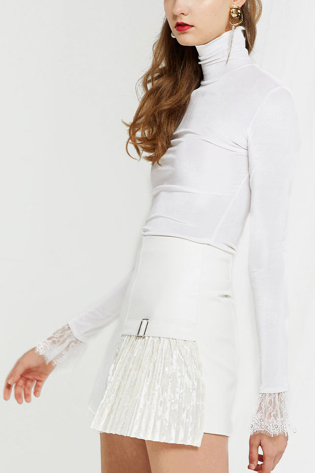 storets.com Nicole Pleather Skirt w/ Velvet Pleats-2 Colors