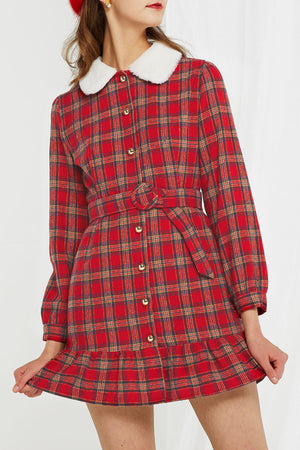 Sharon Plaid Collared Dress (Pre-Order)