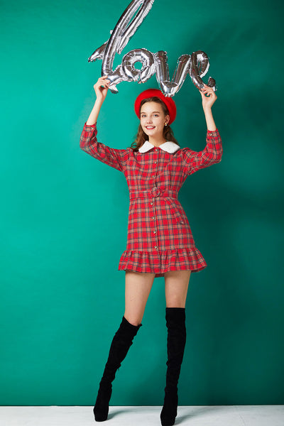 Sharon Plaid Collared Dress
