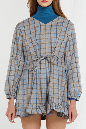 Carrie Plaid V-Neck Dress (Pre-Order)