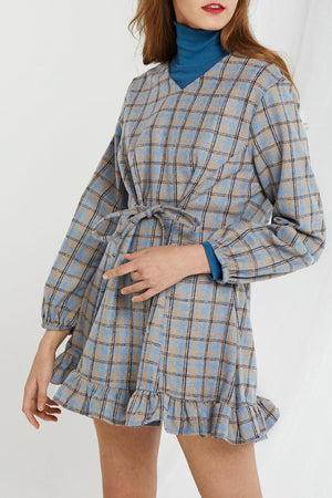 Carrie Plaid V-Neck Dress