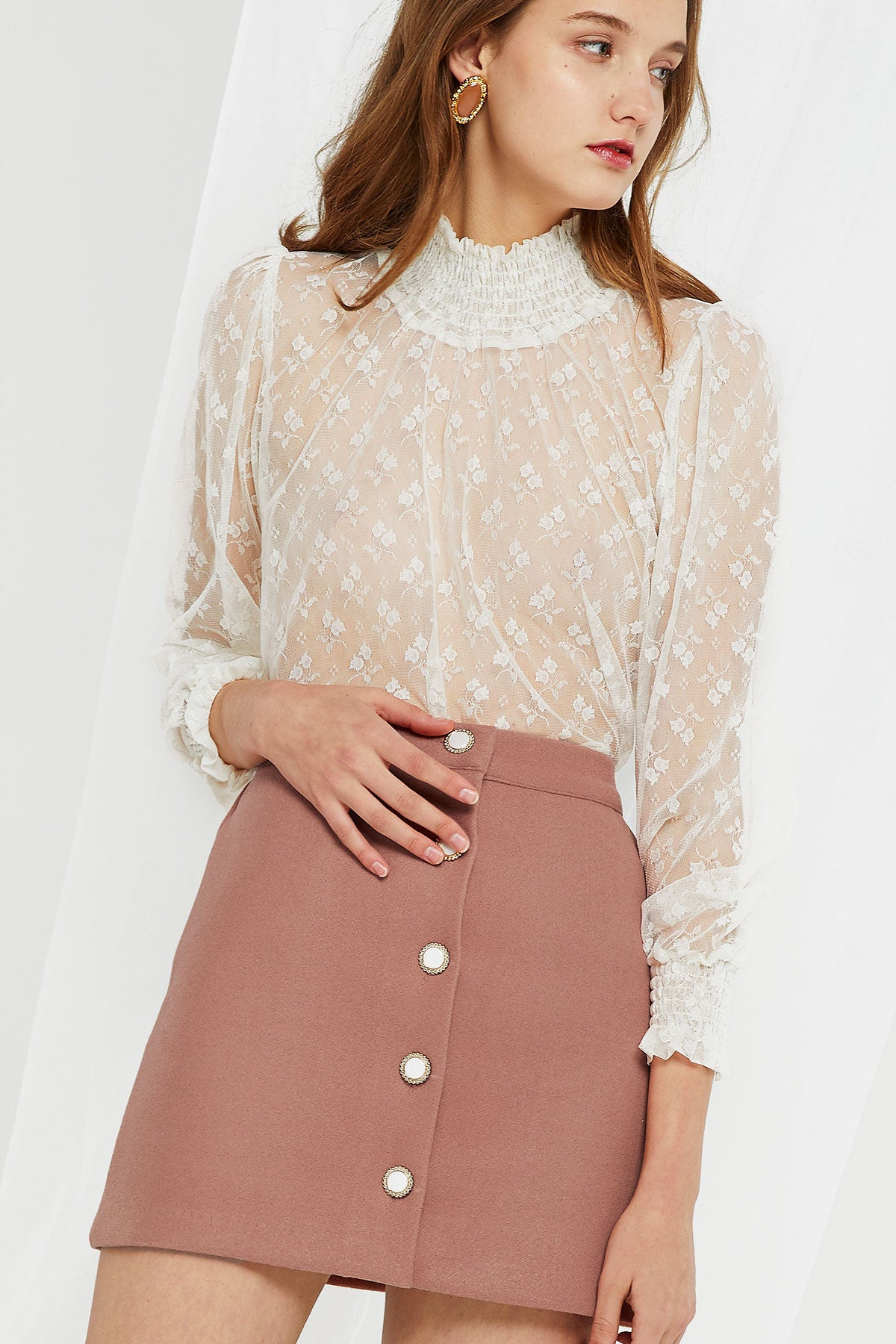 Maya Shirred Neck Sheer Blouse