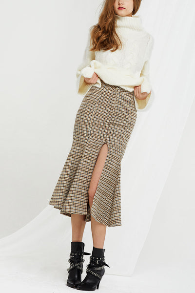 Audrey Plaid Mermaid Slit Skirt