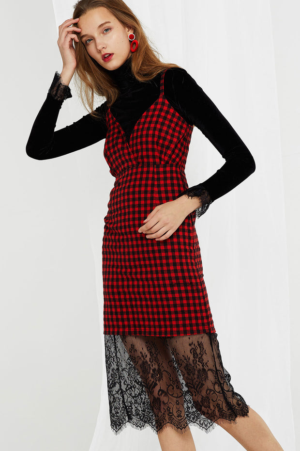 Albina Checkered Lace Point Dress