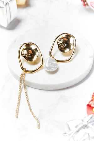 Arielle Crinkled Gold Drop Earrings