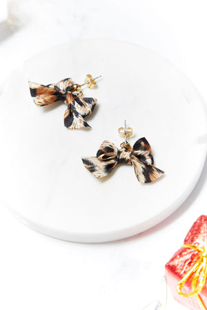 Leopard Bow Earrings