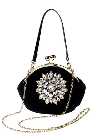 Black Velvet Gem Clutch Bag