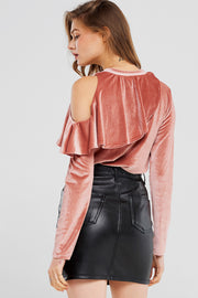 storets.com Carmen Ruffle Cold Shoulder Velvet Top